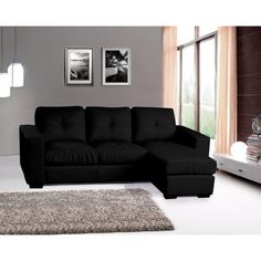 Diego Leather Corner Sofa Full Bonded Leather - Black, White Dimensions: x x Three Seater, Depth of Chaise - Reversible. Bespoke Furniture, Furniture Design, Chaise Sofa, Couch, Leather Corner Sofa, Black Sofa, High Quality Furniture, Bonded Leather, Rest