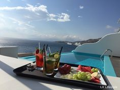 Cocktails, fruits and chilling out at Kouros Hotel and Suites Mykonos pool #mykonos #pool #relax #cocktails #drinks #greece #luxury
