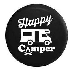 Happy Camper Camp Fire Recreational Vehicle Motorhome l Rv Camper Spare Tire…