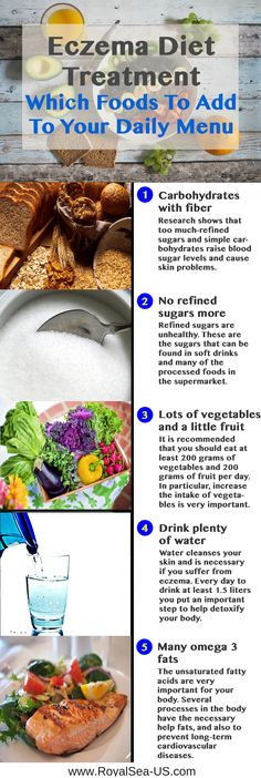 Eczema Diet Treatment: Which Foods To Add To Your Daily Menu. Eczema is a general term for disorders of the surface of the skin. The disorders are caused by an inflammatory reaction of the skin. This is often an allergic reaction and sometimes a reaction to irritation. It may also be unknown where the response is coming from. There are various types of eczema. The seriousness is not equal for everyone. Eczema is not contagious. Most eczema itch, but not all itchy eczema.