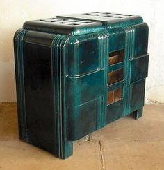French art deco log wood burning multi-fuel stove .   eBay
