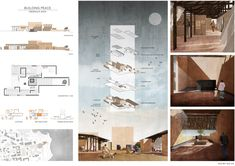 Kaira Looro is an international architecture competition open to students and young architect. The 2019 edition aims is to design a peace pavillon in memory of the innocent victims of war in Africa. Concept Board Architecture, Architecture Presentation Board, Architecture Collage, Architecture Graphics, Minimalist Architecture, Architecture Design, Architecture Posters, Architecture Portfolio Layout, Architectural Presentation