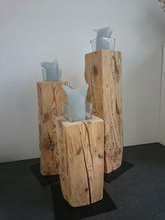 Old wood candlesticks / candles / stand / holder / wood decor LRH - Innenarchitektur natur