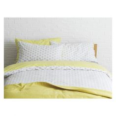 DITSY Grey and yellow reversible double duvet cover set
