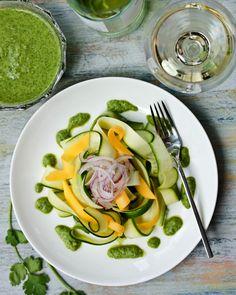 Zucchini and Green Chutney Salad   ASpicyPerspective.com #salad #zucchini #chutney
