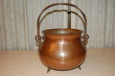 Hand Hammered Copper Cook Pot Cauldron w Twisted Wrought Iron Handle 3 Feet | eBay