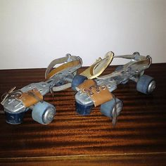 $40     Vintage 1960s SEIKO Strap-On Adjustable Children's Size Roller Skates with Blue Wheels / Retro Skating / Trade Mark SEIKO by V1NTA6EJO