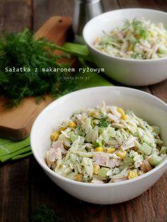Sałatka z makaronem ryżowym (Orzo) – Zjem to! Orzo, Tortellini, Noodle Salad, Pasta Salad, Rice Noodles, Tzatziki, Coleslaw, Fried Rice, Macaroni