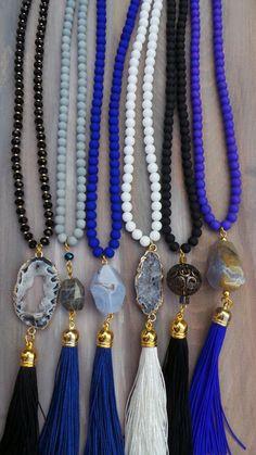 Druzy tassel necklace. Long beaded tassel by AllAboutEveCreations