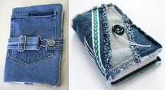 Couvertures de livres en jean recyclé, des modèles Artisanats Denim, Fabric Book Covers, Denim And Diamonds, Day Designer, Denim Crafts, Recycle Jeans, Creation Couture, Mini Albums, Blue Jeans