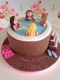 Big Cakes, Just Cakes, Fancy Cakes, Tutu Birthday Cake, Number Birthday Cakes, Pool Party Cakes, Pool Cake, Spa Party Foods, Spa Cake