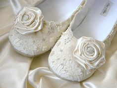 Victoria Wedding Shoes Bridal Ballet Flat Size 11 by pink2blue, $185.00