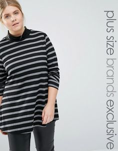 Junarose | Junarose Striped Ribbed Roll Neck Top