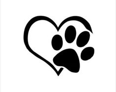 Heart Pawprint Decal Solid Color by TheDTMMonograms on Etsy