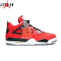 18e83fd01caf54 Authentic 308497-603 Air Jordan Retro 4 Toro Bravo Fire Red White-Black- Cement Grey (Women Men Gs Girls) Free Shipping