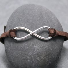 HEAVY INFINITY Adjustable Leather Bracelet for by RoyalCountess, $59.00