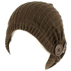 Winter Slouchy Ribbed Knit Beanie Button Ski Hat Brown $16.95