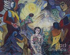 Tattooed Man (aka Women) is a signed 48x60 inch acrylic on canvas by Avonelle Kelsey (1931-2009). The various characters in the scene are likely based on one or more of Avonelle's written works.