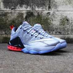Special edition Nike LeBron 12 Low featuring metallic silver, crimson and blue.