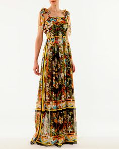 Dolce & Gabbana Printed Tie-Shoulder Chiffon Gown - Bergdorf Goodman
