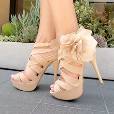 Cream Color Beautiful High Heels With Flower Click the picture to see more