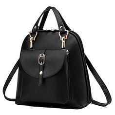 Lenpack Womens Popular Leather Backpack Convertible Handbag Shoulder Bag Black ** To view further for this item, visit the image link.