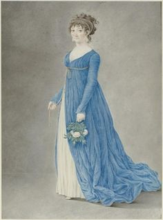 My perfect gown! A standing woman in a blue gown, holding roses in her left hand by Louis Gauffier , 1761–1801)