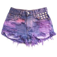 Studded ombre high waist shorts S ($50) ❤ liked on Polyvore featuring shorts, bottoms, pants, destroyed high waisted shorts, studded shorts, distressed shorts, highwaist shorts and pink shorts