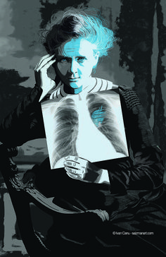 Ivan Canu illustrated a portrait of double Nobel Prize-winner Marie Curie for Cromosomaxx, an independent, international, experimental non-profit project formed by a group of illustrators to pay tribute the most important women in the history of science.