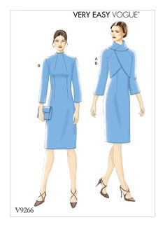 V9266 Fitted, lined jacket has raglan sleeves and front that folds over into collar. Fitted lined dress has back zipper closure.Fall 2017