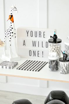 Wild ONE Monochromatic Black and White Jungle Animal 1st Birthday Party by Kara's Party Ideas | KarasPartyIdeas.com