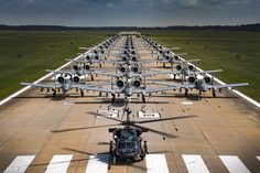 Rollin' Machines.  Fully armed aircraft from the 23rd Wing conduct an elephant walk during a surge exercise at Moody Air Force Base, Ga.  Two HH-60G Pave Hawk helicopters, 30 A-10C Thunderbolt II jets and two HC-130K Combat King II aircraft took part in the exercise whose aim was to demonstrate the wing's ability to rapidly deploy and launch combat ready forces.