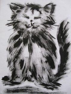 Kočka - malba kartáčkem na zuby