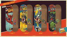 #SantaCruz & #MarvelComics Skateboard Decks #ScreamingHand  mash-ups #Spiderman #Thor #Wolverine #Venom.  Chek 'em out!  Please click on the photo for more info!