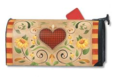 heart mailbox cover Magnetic Mailbox Covers, Painted Mailboxes, Letter Boxes, Mailbox Ideas, Mail Boxes, I Am Happy, Valance, Bench, Hearts