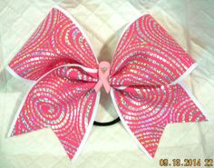 "Cheer Bow ""Swirly Q"", Grosgrain Ribbon With Pink and Silver Holographic Fabric  #Handmade"