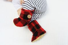 Red and Black Lumber Jack Baby Booties. by handmadetherapykids