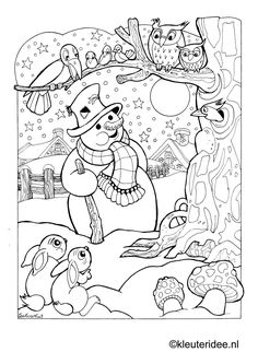 Coloring snowman at night, kleuteridee.nl, snowman by night preschool coloring… Christmas Coloring Pages, Coloring Book Pages, Coloring Sheets, Snowman Coloring Pages, Free Coloring, Coloring Pages For Kids, Christmas Embroidery, Digi Stamps, Winter Theme