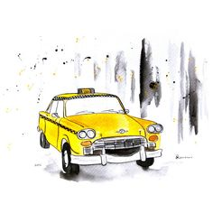 New York Taxi - Watercolor Painting - Original Art Print - Wall Art ($45) ❤ liked on Polyvore featuring sketches, backgrounds, drawings, fillers, art, doodles, effects and scribble
