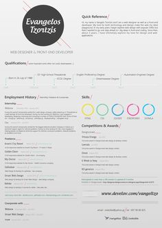 Resume / CV vangeltzo by Vangel Tzo, via Behance