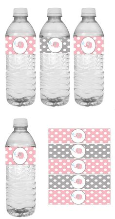 Printable pink and gray elephant baby shower water bottle wrappers.