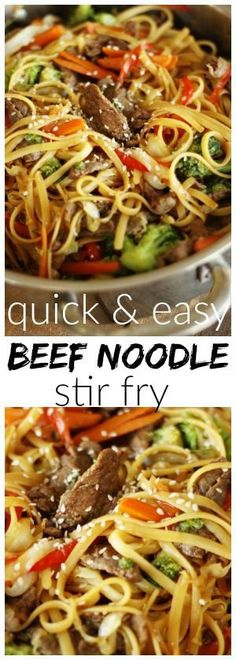 This beef noodle stir fry can be made in just 20 minutes! It is a dinner idea we come back to over and over because it is just SO good! Tender beef, veggies, and noodles tossed together in a delicious savory sauce. via (quick easy dinner stir fry) Beef Noodle Stir Fry, Beef And Noodles, Beef Stir Fry Sauce, Steak Stir Fry, Beef Stir Fry Healthy, Recipe For Beef Stir Fry, Stir Fry With Rice Noodles, Beef Lo Mein Recipe Easy, Lasagne