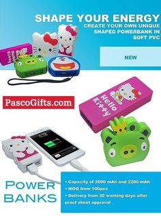 PowerBanks zijn handige mobiele opladers. Nu in elke vorm verkrijgbaar @Pasco Gifts.