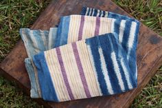 Vintage Indigo & Purple Stripe Handmade Cloth, Burkina Faso, West African Tribal Wall Hanging, Shawl, Blanket, Design Supply