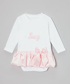 Look at this #zulilyfind! White & Pink Satin Personalized Skirted Bodysuit - Infant by Caught Ya Lookin' #zulilyfinds