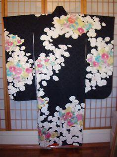 "JAPANESE ART SILK DAMASK ""KIMONO FURISODE"" FLOWERS Hand painting KINSAI YUZEN"