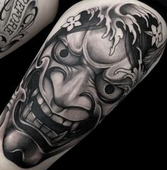 Ohi mask Japanese Forearm Tattoo, Cool Forearm Tattoos, Japanese Tattoo Art, Japanese Tattoo Designs, Japanese Sleeve Tattoos, Body Art Tattoos, Foo Dog Tattoo Design, Japan Tattoo Design, Hanya Mask Tattoo