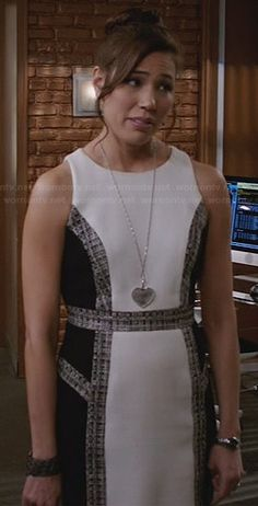 Angela's white dress with black side panels and tweed trim on Bones.  Outfit Details: http://wornontv.net/30296/ #Bones