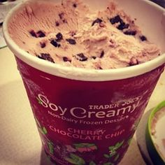 The Cherry Chocolate Chip Soy Creamy dessert pretty much tastes like Cherry Garcia. A . | 23 Vegan Trader Joe's Products You Must Try