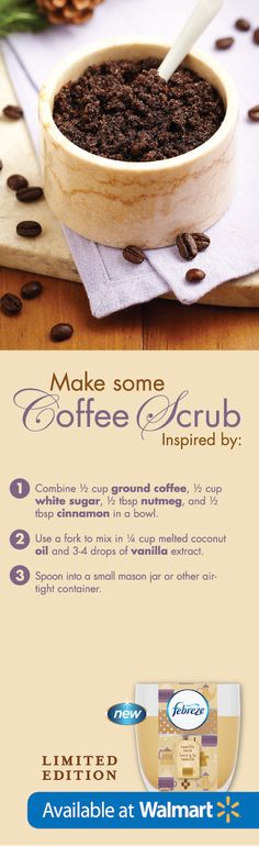 Coffee scrubs make your skin SO soft & this one is #DIY and so simple! #FebrezeHoliday